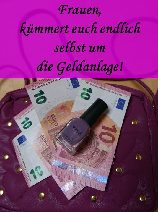 Frauen und Geldanlage - Handtasche, Geldscheine, Nagellackflasche