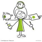 Selbstmanagement - eine Frau jongliert mit vielen Aufgaben