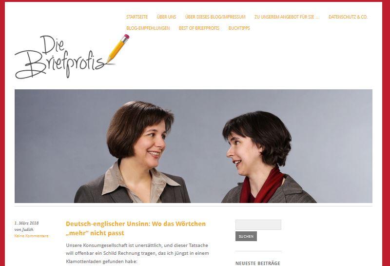 Satrseite von diebriefprofis-blog.de - Teil meiner Personenmarke