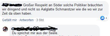 Respekt an Söder auf Facebook